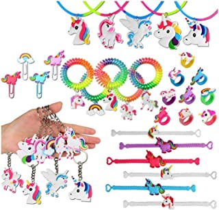 65 PacksUnicorn Birthday Party Supplies Set Prizes Gift for Kids and Girls Unicorn Party Favors, Unicorn Bracelets, Rings, Necklace, Chip and Keychains, Rainbow
