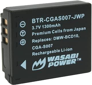 Wasabi Power Battery for Panasonic CGA-S007, CGA-S007A, CGA-S007A/1B, CGA-S007E, DMW-BCD10 and Panasonic Lumix DMC-TZ1, DMC-TZ2, DMC-TZ3, DMC-TZ4, DMC-TZ5, DMC-TZ11, DMC-TZ15, DMC-TZ50