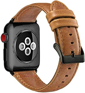 Compatible with Apple Watch Band 42mm 44mm, Genuine Leather Band Replacement Compatible with Apple Watch Series 4 Series 3...