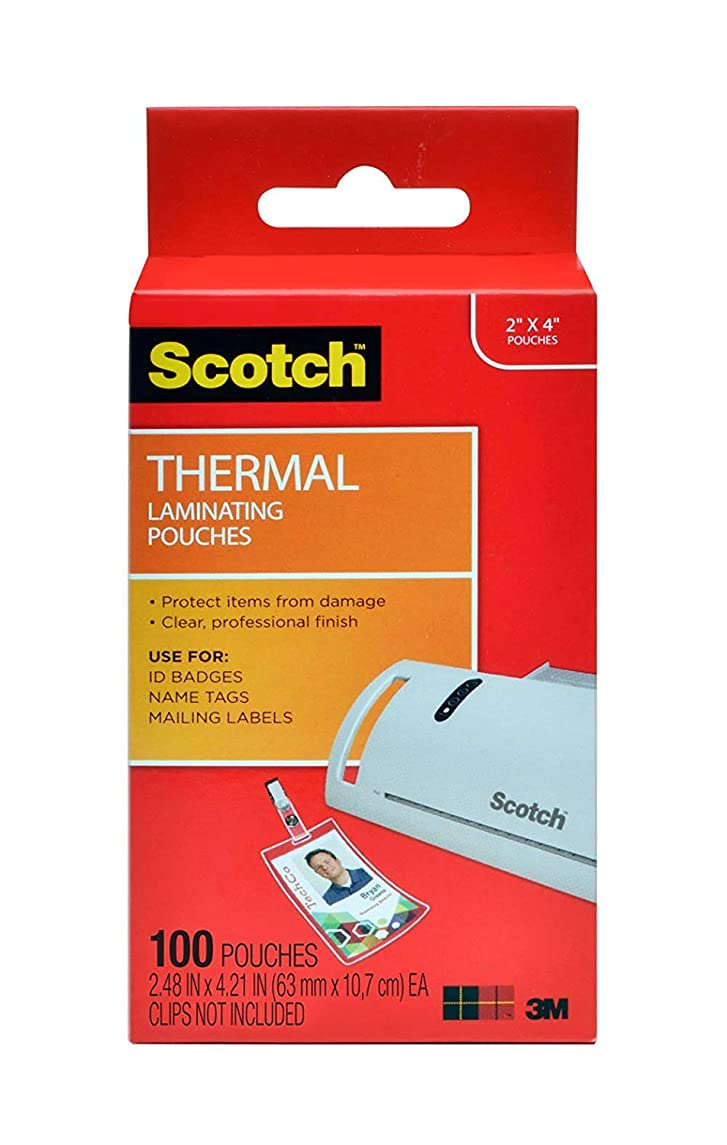 Scotch Thermal Laminating Pouches JL9F4, 2.4 x 4.2-Inches, ID Badge Without Clip, 200-Pouches