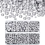 4000 Pieces Mixed Size Hot Fix Round Crystal Gems Glass Stones Hotfix Flat Back Rhinestones (Clear Color)