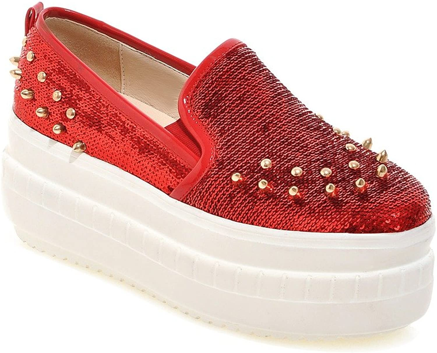 KingRover Women's Fashion Studded Sequin Fabric Casual Platform shoes
