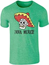 Viva Mexico Day of The Dead Sugar Skull Mariachi Graphic Tee T-Shirt for Men