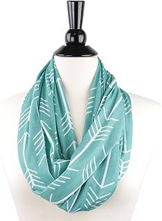Pop Fashion Womens Arrow Pattern Infinity Scarf Wrap Scarf with White Zipper Pocket, Infinity Scarves, Travel Scarf