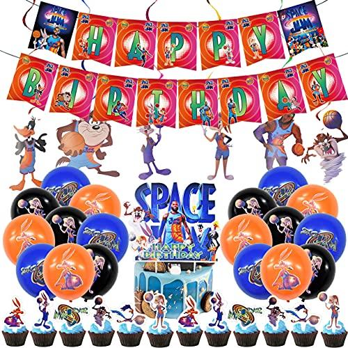 Space Jam Basketball Party Dekorationen, Jam Geburtstagsfeier Dekorationen Basketball Geburtstag Deko HAPPY BIRTHDAY Basketball Banner und Folienballons Topper 64Pcs