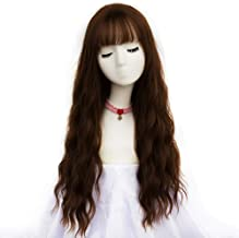 netgo Women's Brown Wig Long Curly Wavy Hair Wigs for Girl Heat Friendly Synthetic Party Wigs