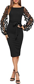 Women's Elegant Mesh Contrast Bishop Sleeve Bodycon...