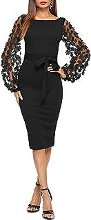 Women's Elegant Mesh Contrast Bishop Sleeve Bodycon Pencil Dress