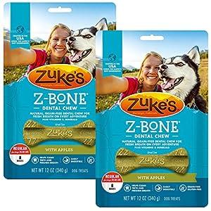 Zuke's Z-Bone Dental Chew Dog Treats, Apple, Regular, 16 Chews