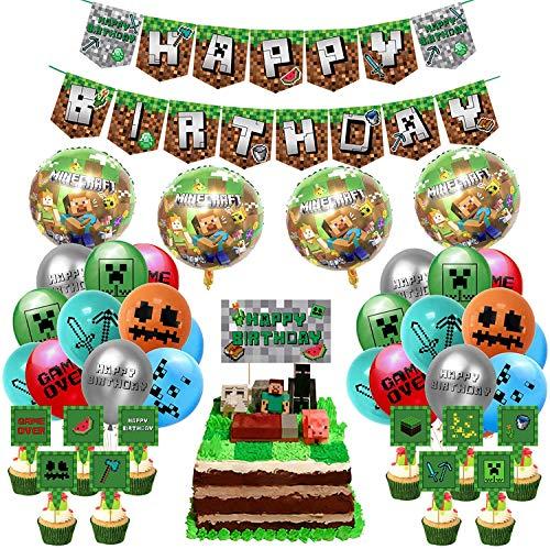 Video Gioco Decorazione Festa di Compleanno, Tema Pixel Forniture per Feste Buon Compleanno Banner Palloncini in Lattice di Alluminio Toppers Cupcake per Torta per Bambino Uomo