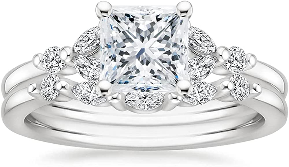Princess Cut Bridal Sales of SALE items from Max 75% OFF new works Ring Set Women for Sets Rings Wedding