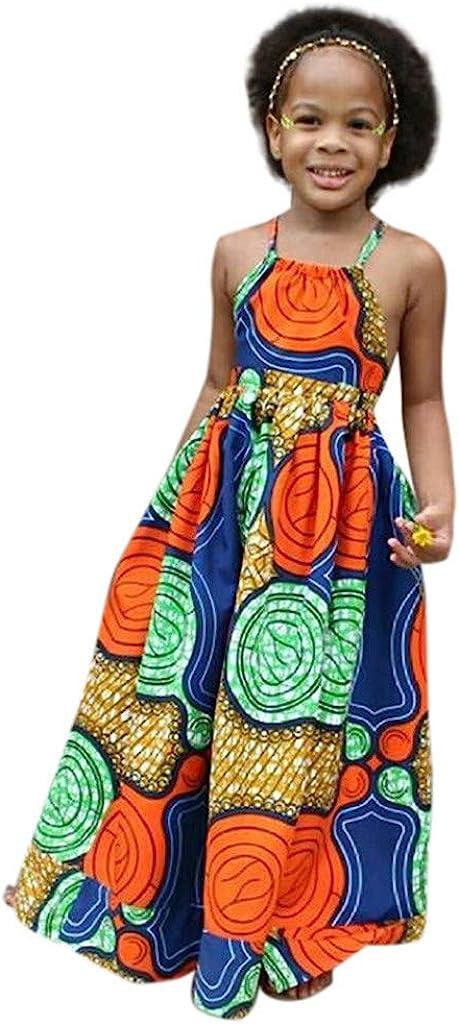 African Dashiki 3D Digital Print Suspenders Dress for Kids Girls Summer Princess Casual Dress 2-7 Years