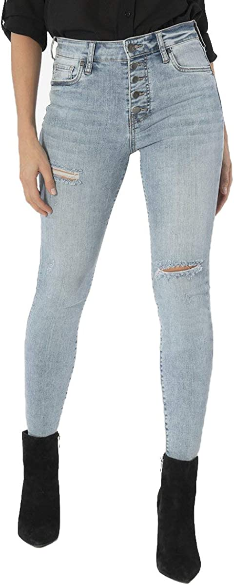KUT from the Kloth Women's Connie High Rise Ankle Skinny Jeans with Exposed Buttons in Autonomous