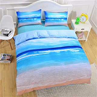 King's Love 3D Bed Sheet Set -3 Piece 3D Beach Ocean Printed Sheet Set Queen Size - Soft, Breathable, Hypoallergenic, Fade...