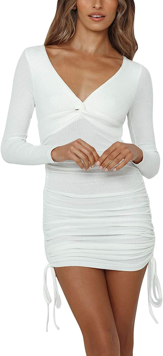 Pink Queen Womens Sexy Bodycon Dress V Neck Long Sleeve Ruched Club Mini Tight Dress