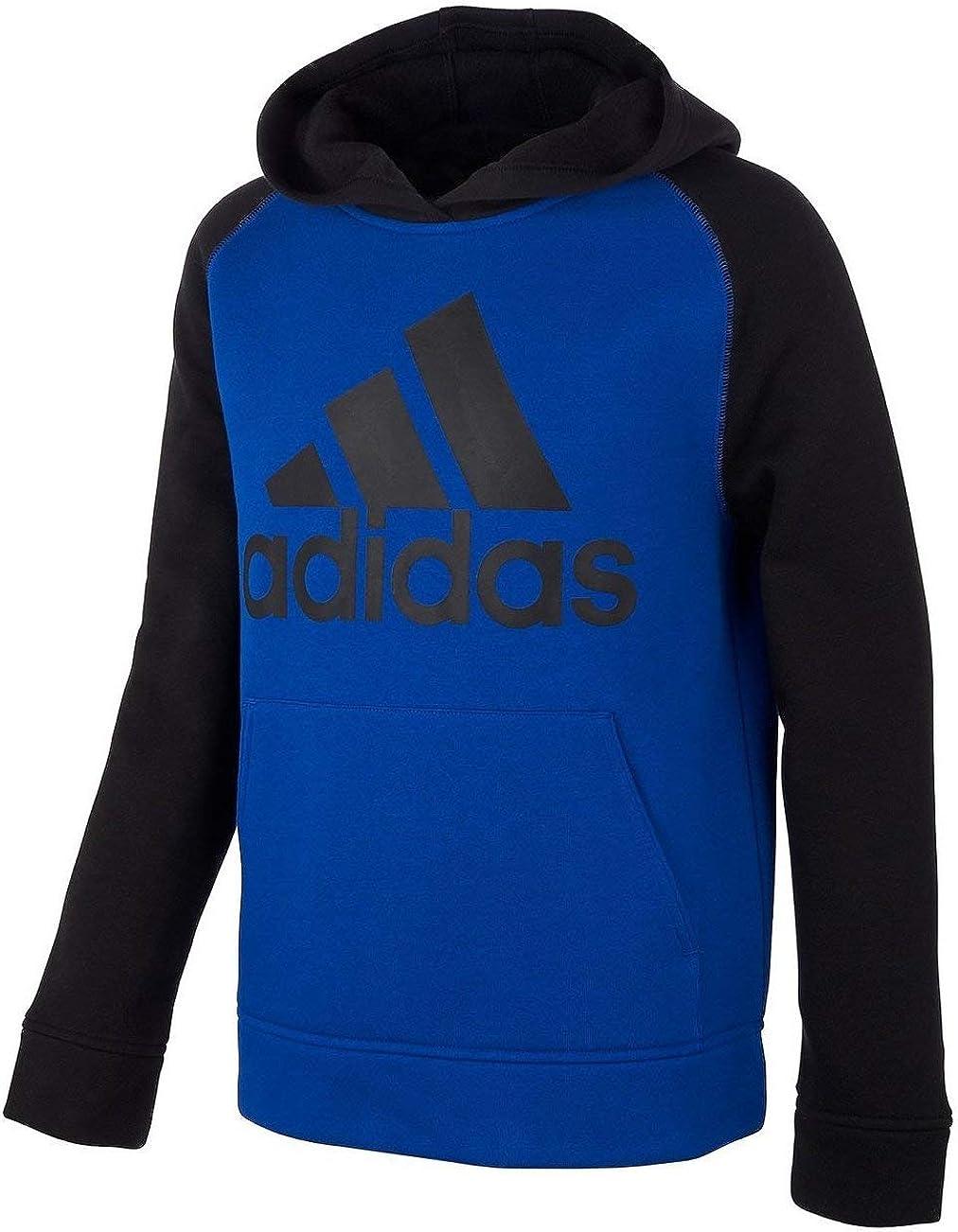 adidas Big Boys Colorblocked Fleece Hoodie Size S(8) Blue/Black
