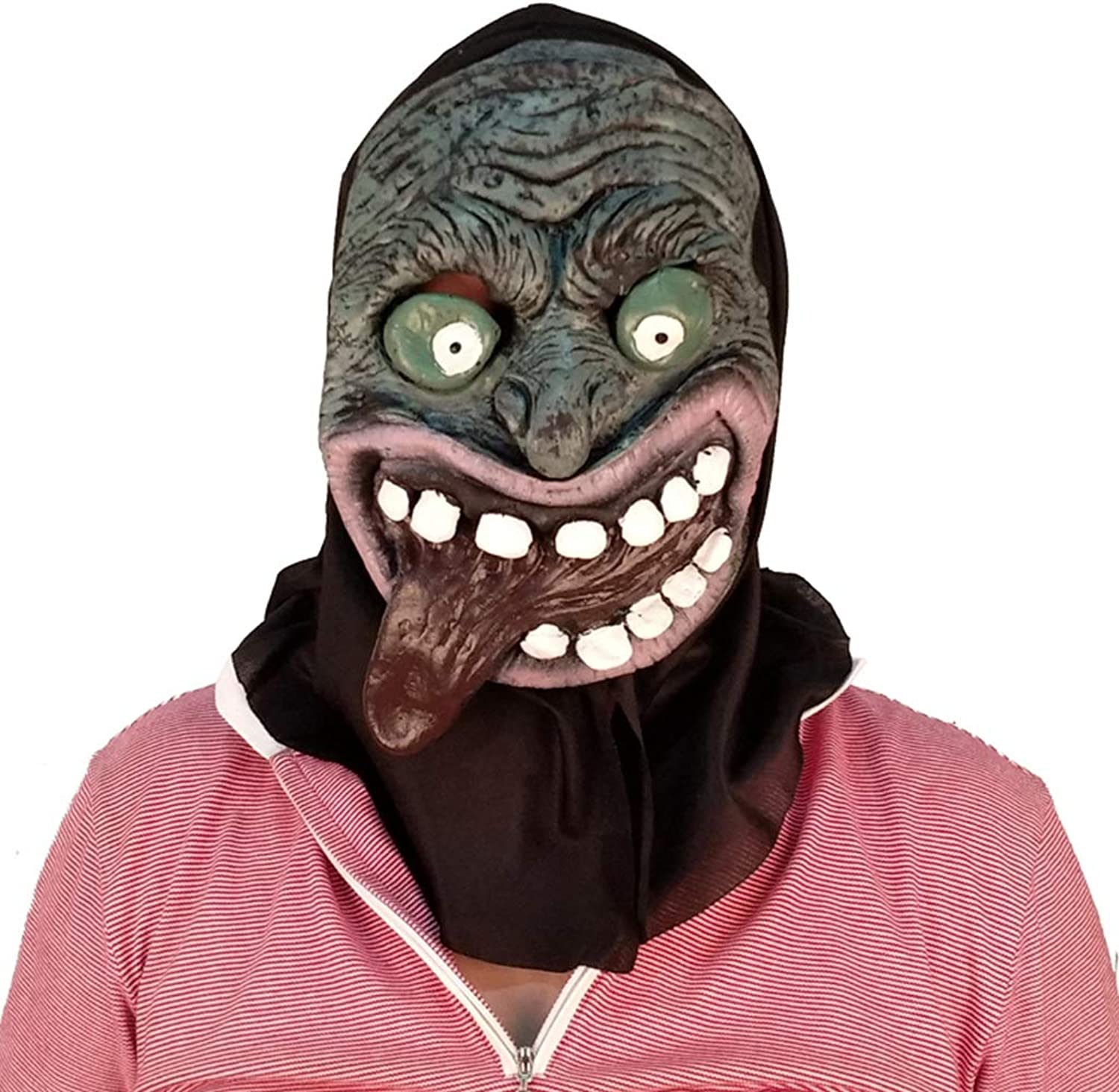 Terrorist headgear Halloween Christmas Mask Scary male Adult female face wig Masquerade Status Demon Death Mask Masks (color   Brown, Size   36CM 14inch)