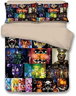EVDAY Five Nights at Freddy's Pizza Security's Bedding for Boys Lightweight Ultra Soft Breathable 3 Piece Kids Duvet Cover Set Including 1Duvet Cover,2 Pillowcases Queen Size