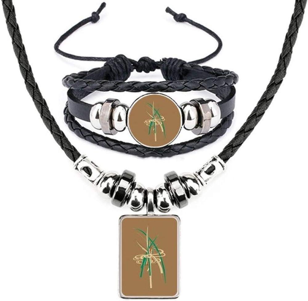 Japanese Culture Leaf Art Deco Gift Fashion Leather Necklace Bracelet Jewelry Set