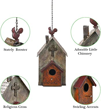 "Brogan 14.7"" H Metal Birdhouses for Outdoors Hanging, Bird House Decorative for Outside Garden Yard, Inspirational Church wit"