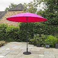 Kingfisher Pink 2.6m x 2.6m Aluminium Shanghai Parasol with Crank and Tilt Outdoor Garden Patio Furniture