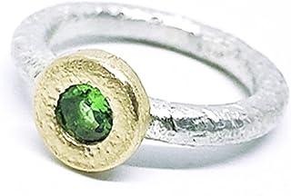 Anello prezioso con magnifico granato tsavorite africano naturale (verde) misura (4,68 mm x 2,62 mm) 0,82 carati. Anello i...