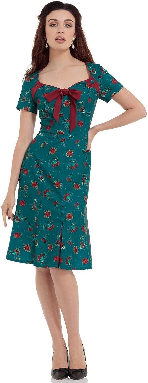 Vixen Retro 40s Style Cherry Floral Blossom Vintage Style Dress