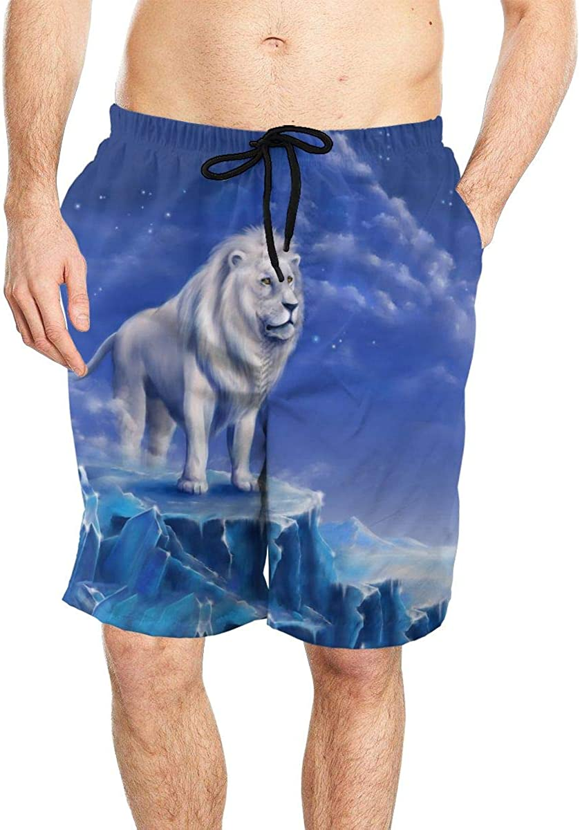 DASMUS Drawing of Lion Men Quick Dry Beach Board Shorts Swim Trunks with Mesh Lining