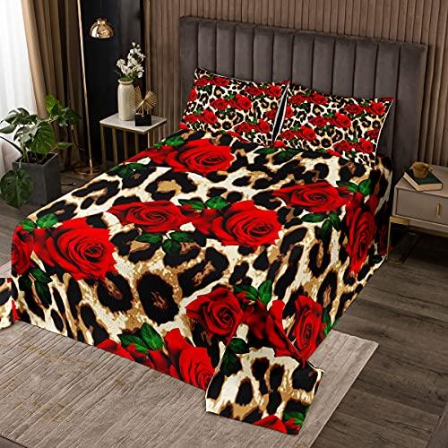 Tagesdecken-Set mit Leopardenmuster, King-Size-Größe, Rosenblüte, für Kinder, Mädchen, Frauen, Raumdekoration, rote Blumenblätter, Geparden-Druck, Bettwäsche-Kollektion mit 2 Kissenbezügen
