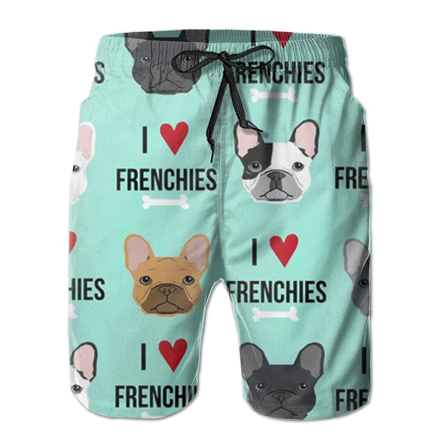 Jiqnajn6 Frenchie Dog Fabric Men's Swim Trunks Quick Dry Summer Surf Beach Board Shorts with Mesh Lining/Side Pockets poozzieaswk6