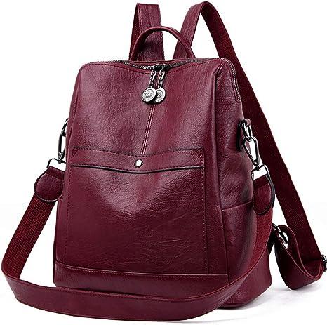 Makalar Women Fashion Large Capacity Leather Backpack Shoulder Bag Casual Daypacks
