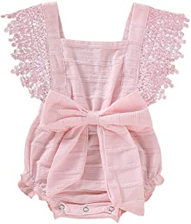 🌸Hot!! Baby Boys Girls Lace Bodysuits MS-SM Summer Newborn Infant Fashion Solid Bow Romper Jumpsuits Clothes Outfits 0-18 Months