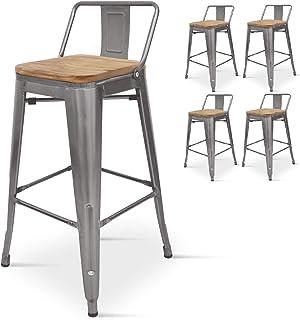 Kosmi - Lot de 4 chaises de Bar, Tabouret Haut Style Industriel avec Petit Dossier en métal Brut Aspect galvanisé et Assis...