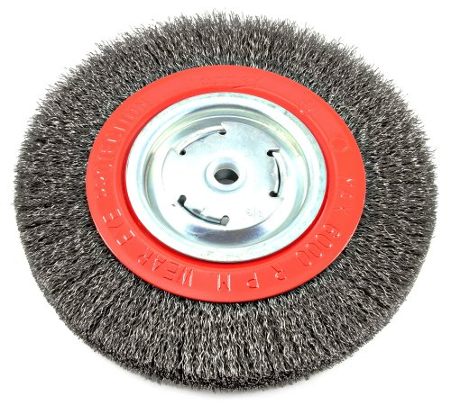 Forney 72762 Wire Bench Wheel Brush, Wide Face Coarse Crimped with 1/2-Inch and 5/8-Inch Arbor, 8-Inch-by-.014-Inch