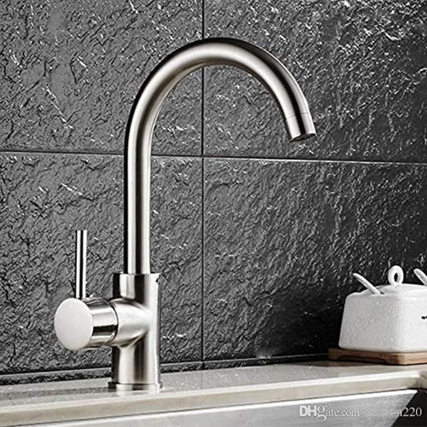Oudan Luxury Brushed Sink Faucet with Single Handle Solid Brass Sink Faucet from Senducs Ware (color   -, Size   -)