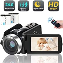 Camcorder Digital Video YouTube Vlogging Camera Recorder Full HD 1080P 30FPS 24.0 MP IR Night Vision 3.0 Inch IPS Screen 270 Degree Rotation LCD 16X Digital Zoom Camcorder Remote Control