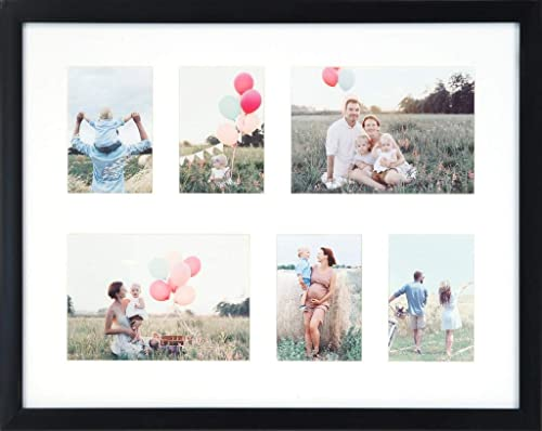 AYOGA: LIVE IN STYLE 6 Picture Multi-Function Wood Collage Photo Frame for Wall, Shatter Resistant HD Glass (Black, 4...