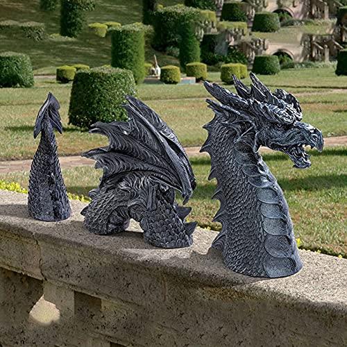 FUFRE Figura de enano de jardín, escultura de dragón, césped exterior, estatua de resina, decoración de escritorio, pequeños adornos, decoración del hogar (negro)