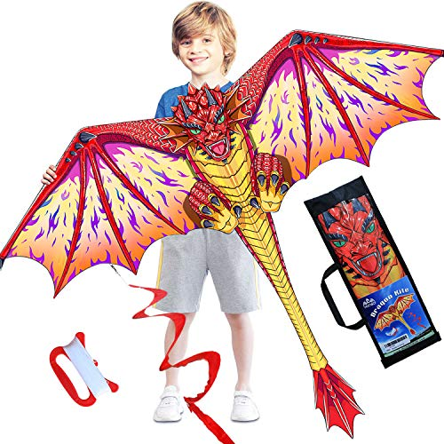HONBO Dragon Kite for Kids and Adults-Easy to Fly, Beginner Kite-55 x 62inch with Spinning Tail 200ft Kite String, Kites Kids
