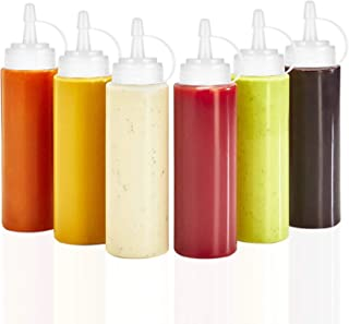 6pk 8 oz Squirt Bottle for Condiment Oil and Vinegar Dispenser Hot Sauce Honey Mustard Ketchup Paint Glue Liquid with No L...