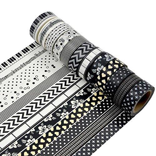 MOEUP 5pcs Dekorative Washi Masking Tape - Each Tape 15mm x 10m by MOEUP
