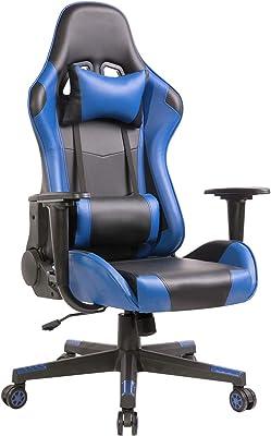 AJHH ゲーミングチェア ゲーム用チェア オフィスチェア リクライニング 固定式肘掛け ネックピロー ランバーサポート 腰痛対策 PUレザー 耐荷重100KG ブルー HH-5802BAA
