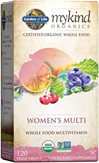 Garden of Life Vegan Women mykind Organic Women Whole Food Vitamin Supplement, 120 Count