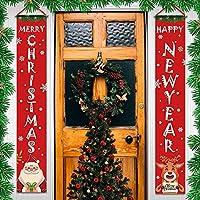 2ピース クリスマス ポーチサイン メリークリスマス バナー Happy Holidays バナー ウェルカムバナー フロントドア 吊り下げサイン クリスマス ホーム ウォール インドア アウトドア デコレーション (B)