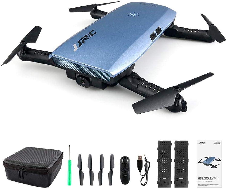 Jjrc H47 Elfie WiFi FPV 720P Hd Kamera Pocket Selfie Drohne G-Sensor Steuerung App Steuerung Flugplanung Faltbare Rc Drohne Metallblau Mit 2 Batterien - Blau,A,Einheitsgre