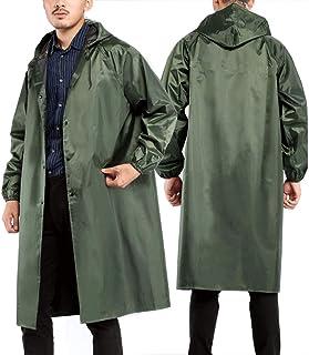 Bilboy Rain Coat Unisex Raincoat,Long Poncho,Outdoor Hooded Rain Jacket Army Green for Women Men,1pc