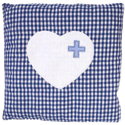 Cuscino con noccioli di ciliegia a quadretti con cuore in rosso o blu