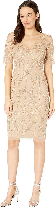 Adrianna Papell Womens Beaded Sheath Dress Dress
