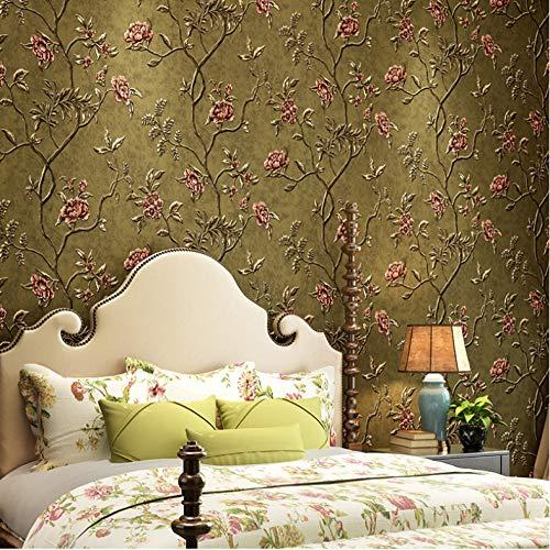 Behang Wallpape Green Teal Floral Reliëfbehang Voor Slaapkamer Woonkamer Muren Romantische Rode Bloem Behang Home Decor Beige-3
