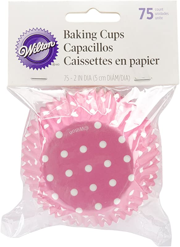 Wilton 415 0158 Bake Cups Pink Dots 75 Count